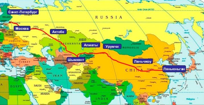 От Желтого моря до Финляндии карта дороги