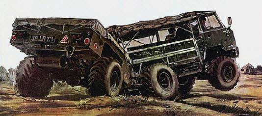 Быстрая трансформация. После присоединения активного прицепа с ведущими колесами Land Rover FC101 менял колесную формулу с 4x4 на 6x6!